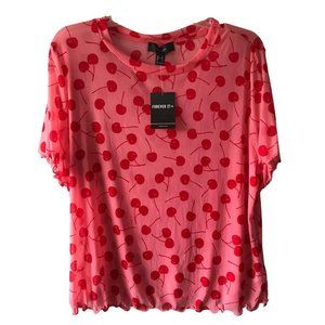 Plus Size Forever 21 Pink Short Sleeve Sheer Cherry Crop Top Size 2X